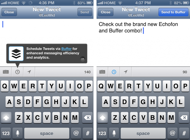 Echofon Buffer 1 730x539 Buffer integrates its tweet scheduling service into popular Twitter client Echofon