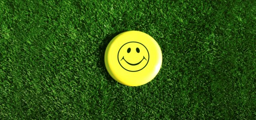 A Happy Face sits in the middle of a grass lawn in the summer