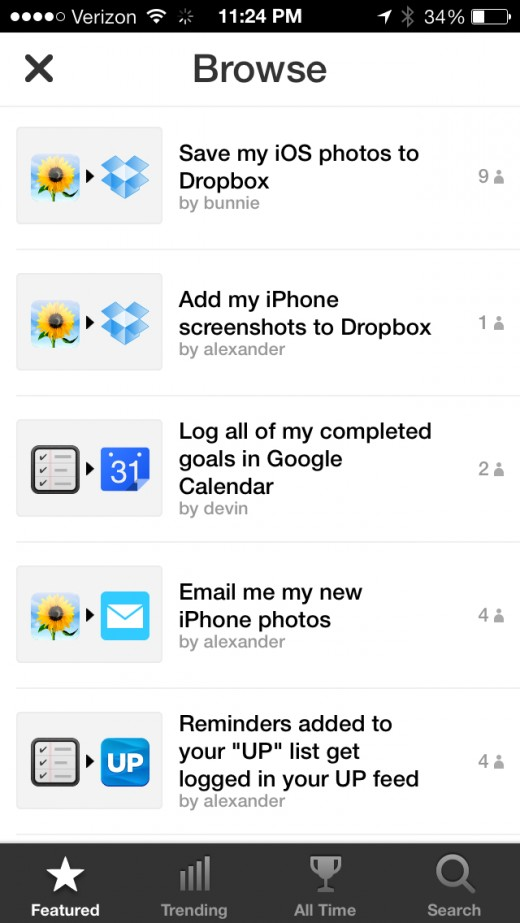 July 10  2013 at 1124PM 2 520x923 IFTTT comes to iPhone with a crisp app featuring native Photos, Reminders and Contacts channels