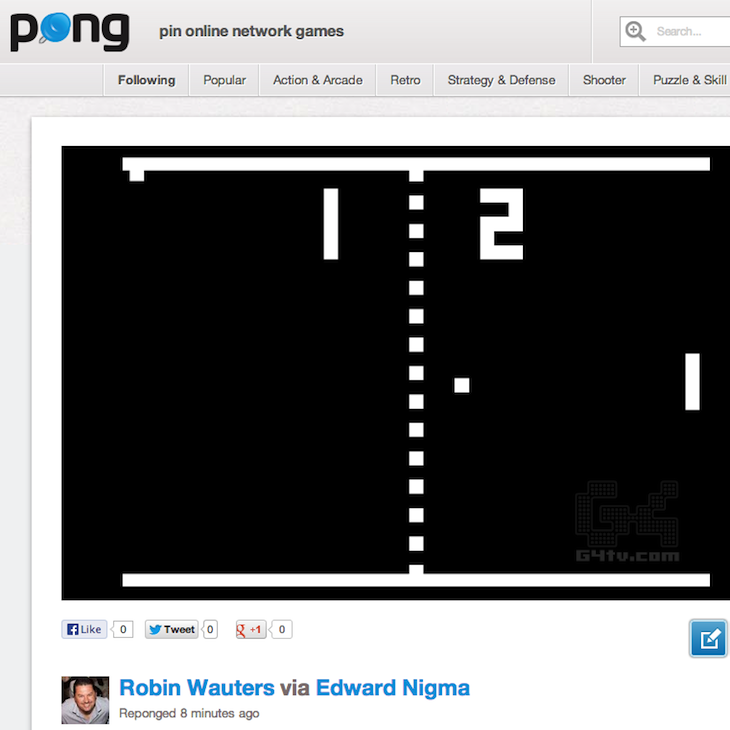 Pong Retro Pong Pin Online Network Games Take a break from work: Pong.com emerges as a Pinterest for flash games
