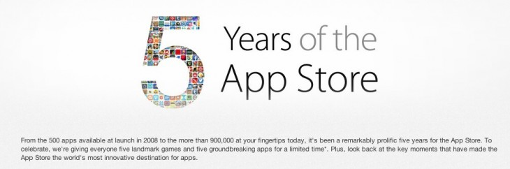 Screen Shot 2013 07 08 at 10.34.21 AM 730x242 Apple celebrates 5 years of App Store with sales, timeline of milestones in iTunes