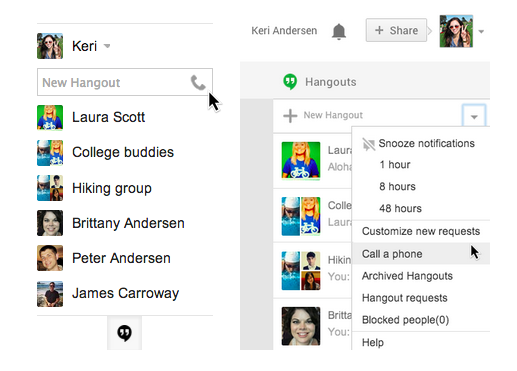 Screen Shot 2013 07 09 at 2.28.59 PM Google brings calling back to Gmail with Hangouts and makes calls to US and Canada free