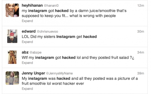 Screen Shot 2013 07 27 at 08.55.53 520x323 Mysterious Instagram hack returns, posting photos of fruit smoothies to user accounts (Update)