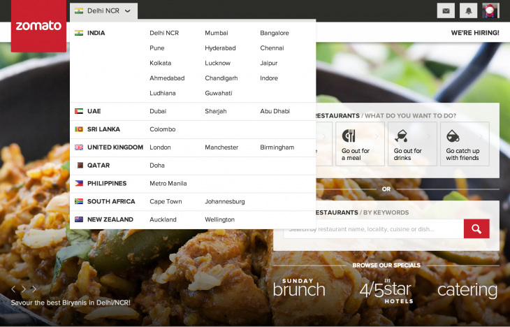 Zomato Homepage 730x468 Restaurant guide Zomato introduces social features and goes live in 5 new cities worldwide