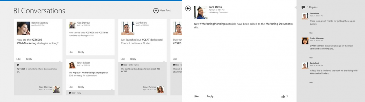 sharepoint newsfeed windows 8 730x205 Microsoft launches SharePoint Newsfeed app for Windows 8, but only for SharePoint 2013 and Office 365 users