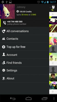 uk yuilop number 1 220x391 Free Yuilop calls come to the UK with permanent phone numbers and promise of video messaging one day