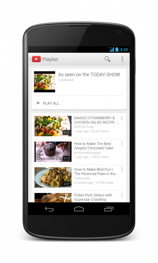 1 Screenshot Nexus4 EN 520x867 YouTube for Android gets a UI redesign, picture in picture functionality, playlist search support, and more