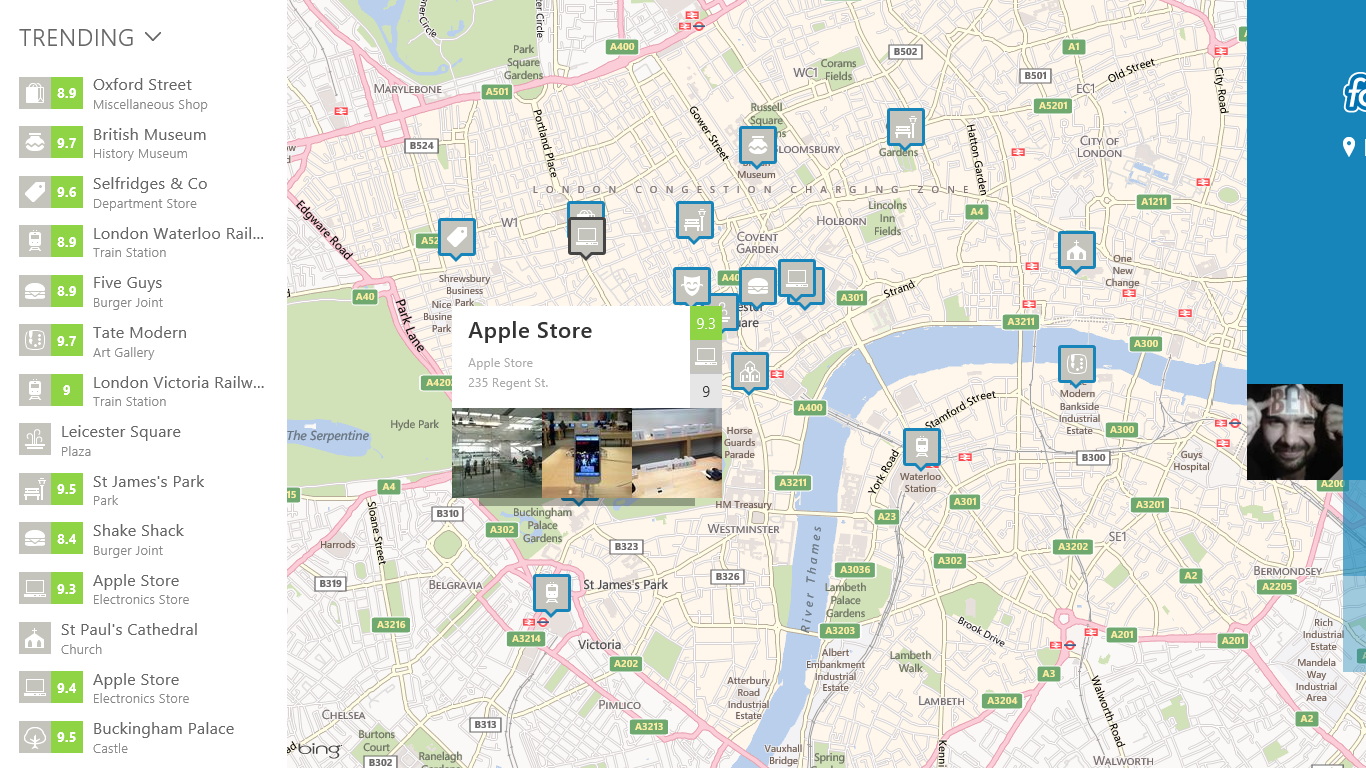 4sq map Hands on with Foursquares gorgeous Windows 8 app: Shunning checkins for reviews and discovery