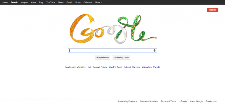 GoogleIndiaSaffron 730x340 Whoops   Google botches Indian flag colors on Indian Independence Day