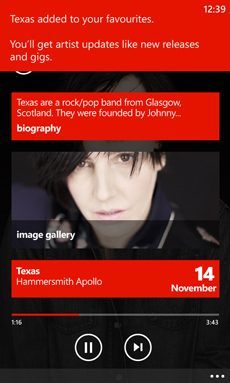 MusicNowPlaying Texas More Fave Nokia Music for Windows Phone 8 adds new releases and gig notifications for your favorite artists