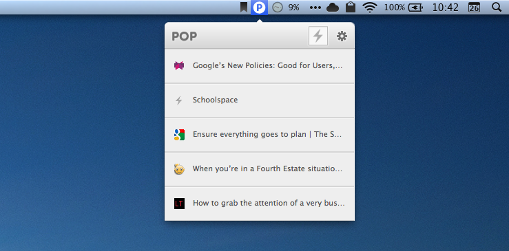 POP wide POP delivers the most popular links from the people you follow on Twitter to your Macs status bar