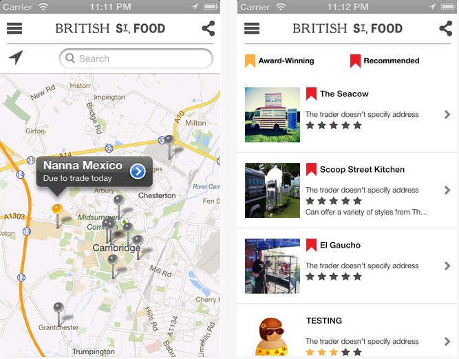 Screen Shot 2013 08 14 at 11.00.15 AM Best street food in Britain? This nifty little iPhone app helps you find it.
