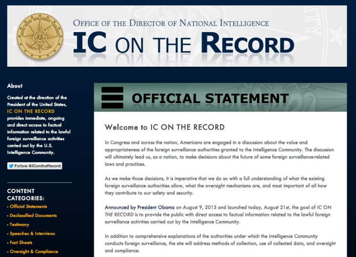"Screen Shot 2013 08 21 at 1.53.48 PM 730x528 US launches ""IC On The Record"" Tumblr site to help promote transparency in surveillance activities"