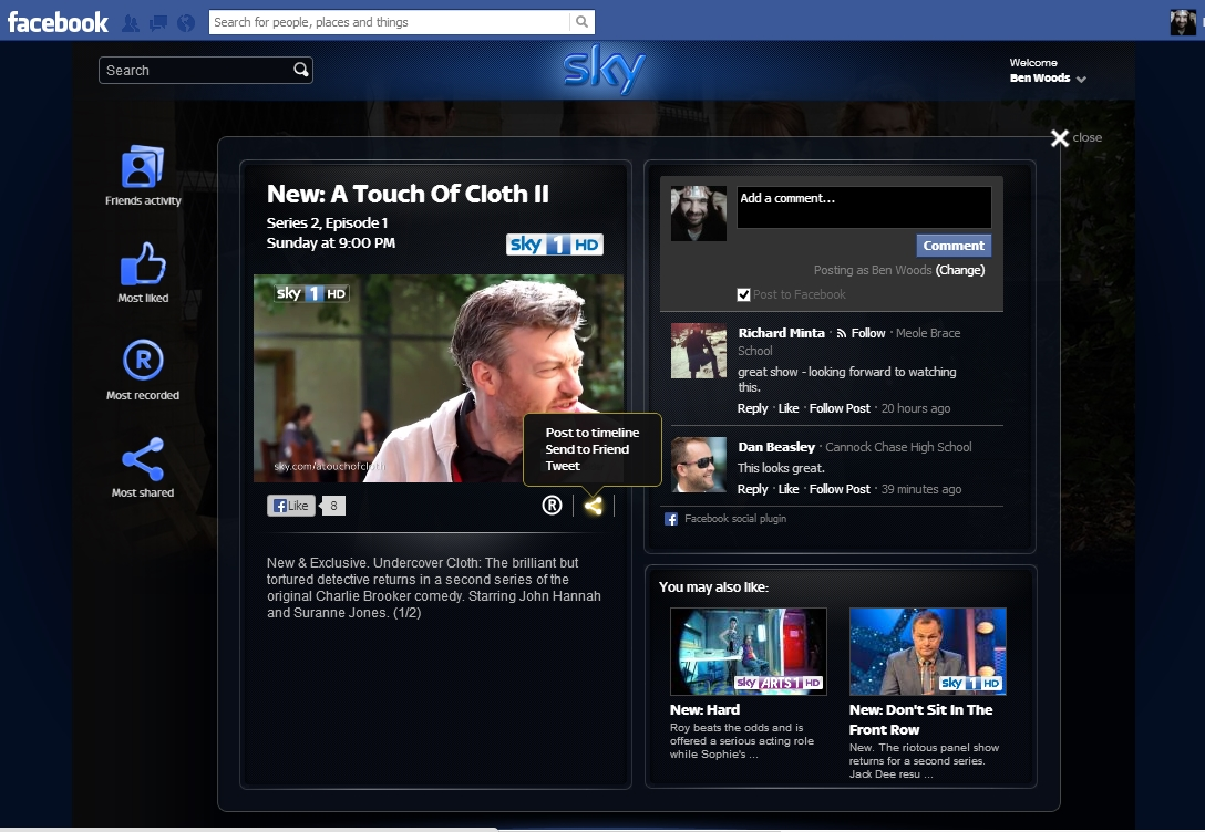 SkyShare detail Sky Share lets you set your Sky+ box to record directly from Facebook: Heres how it works