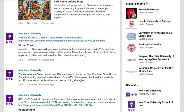University Page NYU 02 730x446 LinkedIn launches university pages to help high school students find the right college