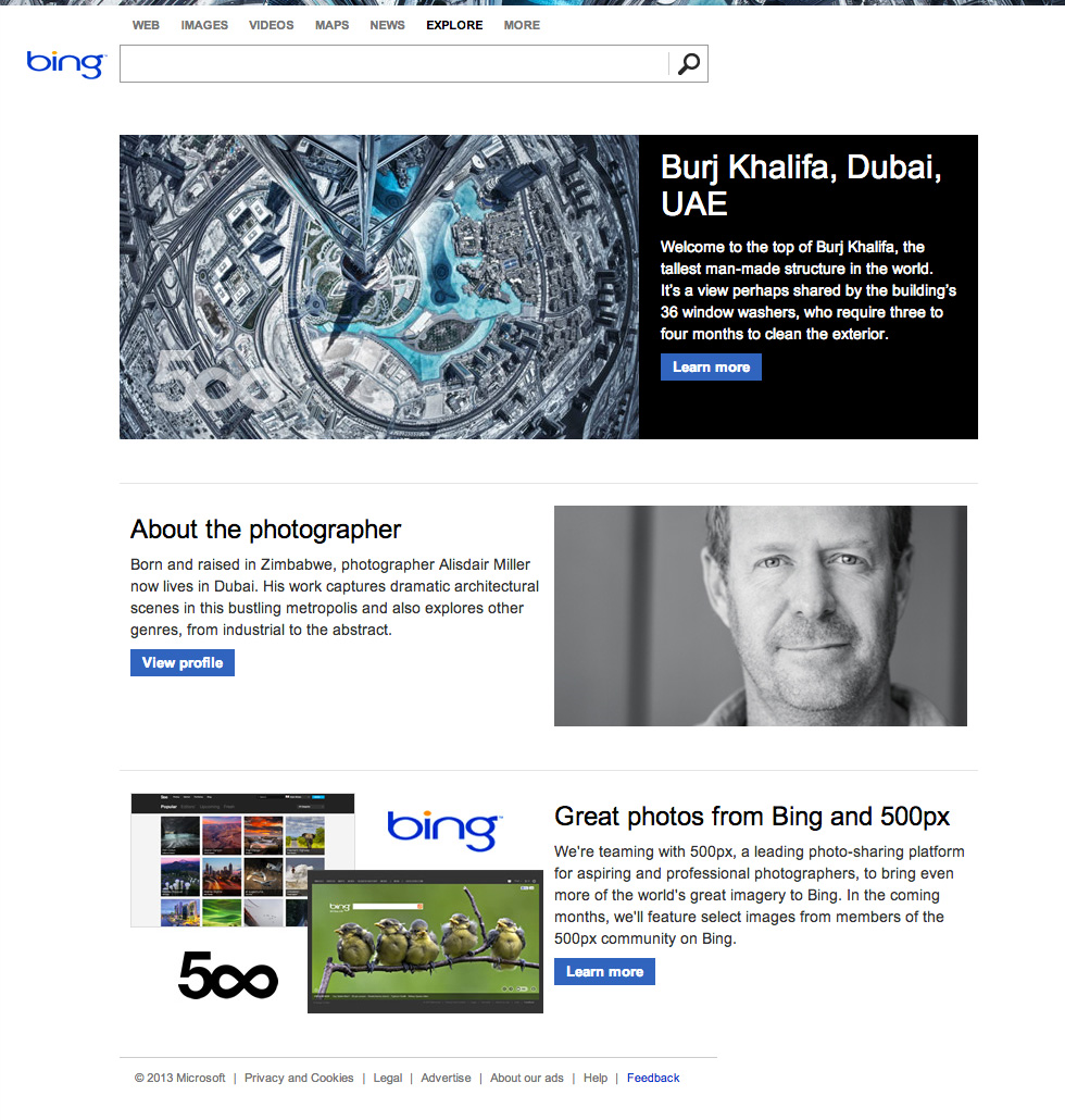 bing 500px bio 500px teams up with Microsoft to showcase curated photos from its community on Bings homepage