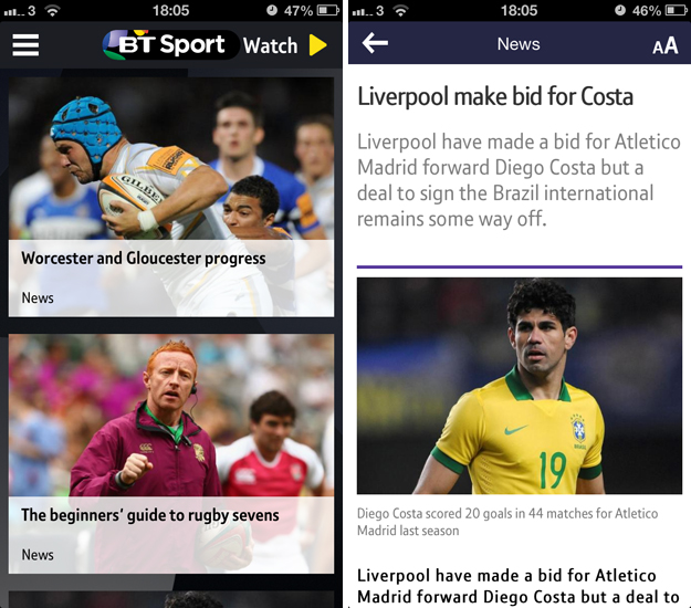 btsport1 A cord cutters dream: BT Sport for iOS serves up live streaming, highlights, news and more