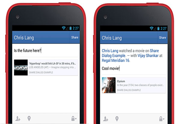 facebooksdksharedialog Facebook brings Android SDK level with iOS after adding Open Graph, improved login, more targeting