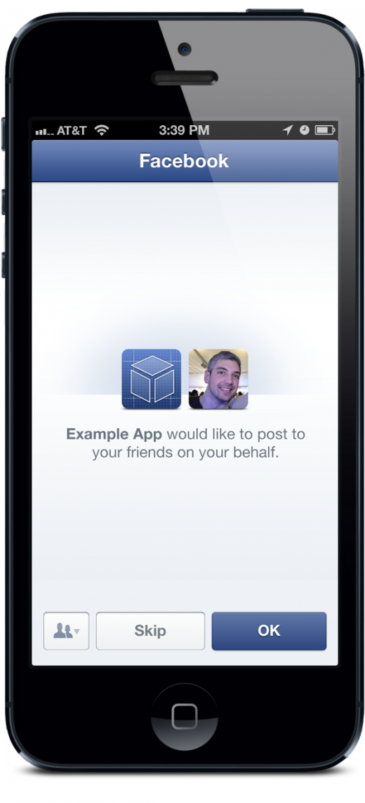 iphone write1 520x1142 Facebook's Login feature opens up to all, requiring apps to ask for permission to post to Timelines