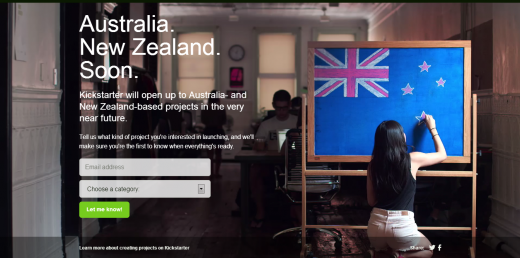 kickstarter au nz 520x258 Crowdfunding platform Kickstarter is launching in Australia and New Zealand soon