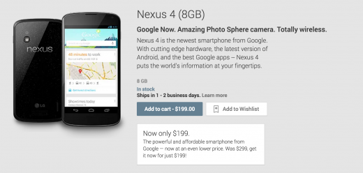 nexus4 520x248 Google drops Nexus 4 to $199 in the US and slashes prices by 25% in 6 other markets