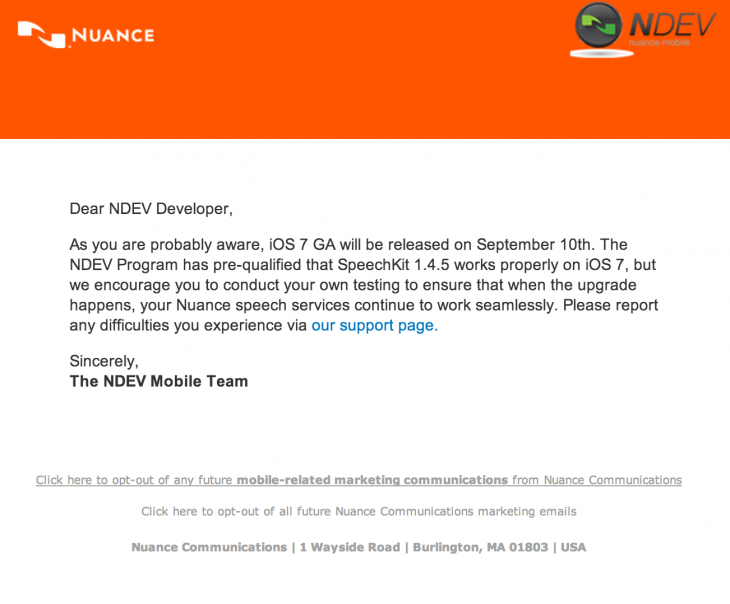 nuance ios7 730x604 Nuance developer email hints at September 10th iOS 7 release