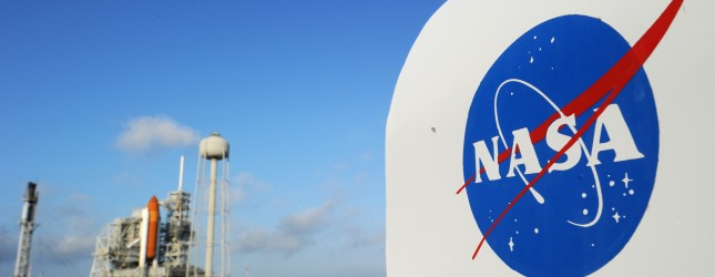 The NASA logo on a protective box for a