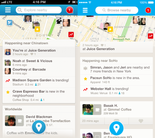 Foursquare iOS7 compare Before and after: The best iOS 7 app redesigns