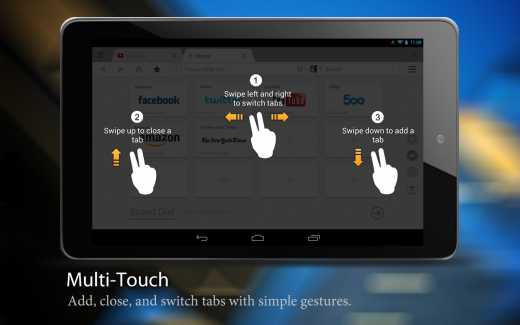Multi touch 520x325 UC Browsers tablet version now allows seamless switch between incognito and regular browsing