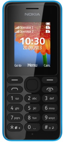 Nokia 108 DUAL SIM cyan 220x500 Nokia unveils the 108 and 108 Dual SIM featurephones, $29 entry level VGA camera phones