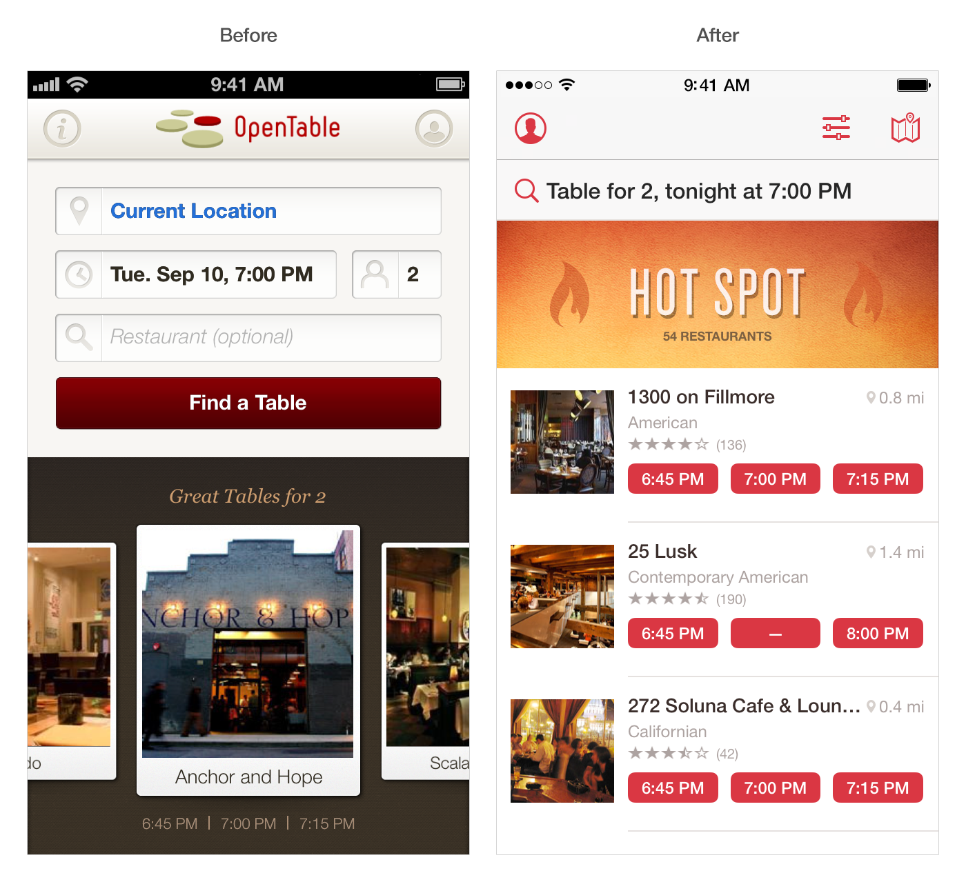 OpenTable iOS7 Before and after: The best iOS 7 app redesigns