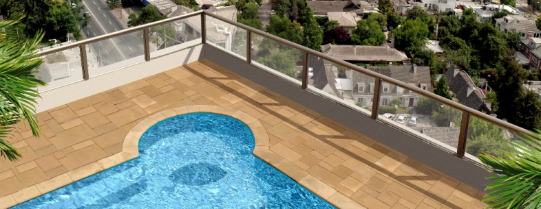 Girl swimming at the a roof penthouse pool. Photo retouching an 3d illustration used.