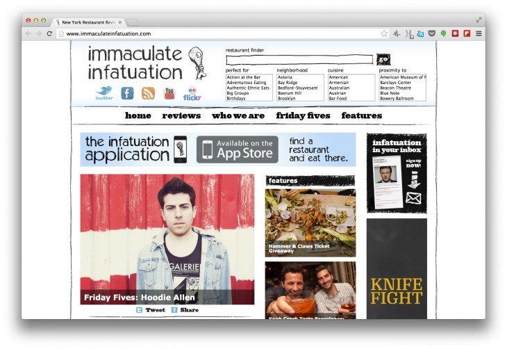 Screen Shot 2013 09 15 at 13.16.51 730x502 New Yorks Immaculate Infatuation and its fresh take on content based recommendations