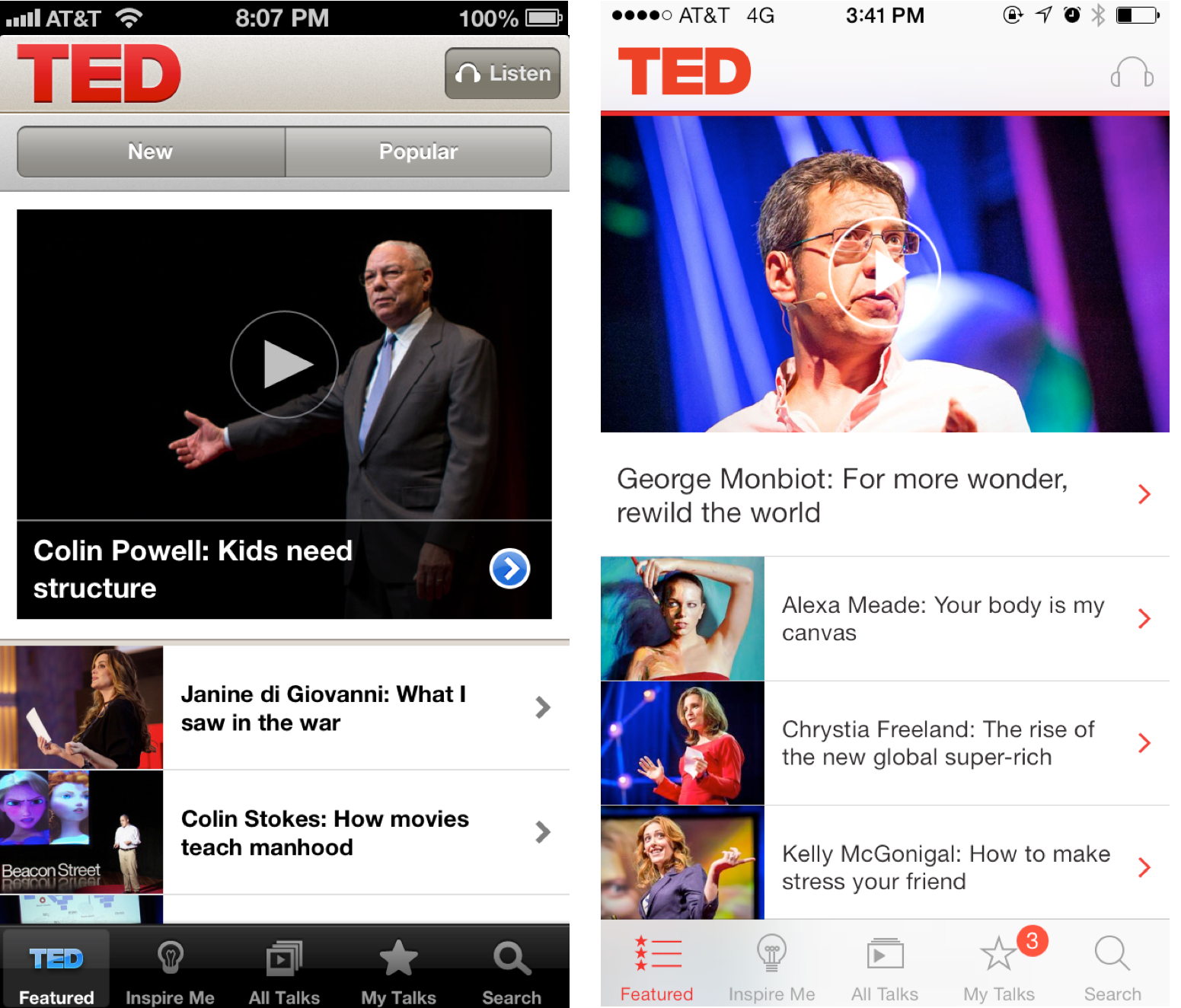 TED iOS7 Before and after: The best iOS 7 app redesigns