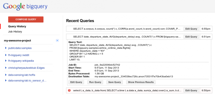 bigquery history 730x325 Google updates BigQuery with real time streaming inserts, time based queries, and new functions