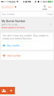 burner 220x390 Burner for iPhone gets an iOS 7 redesign to make it easier to create disposable phone numbers