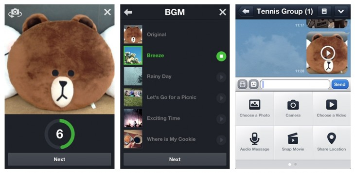 en snap movie image 730x355 Messaging service Line gets updated with video calls and Vine like Snap Movie feature