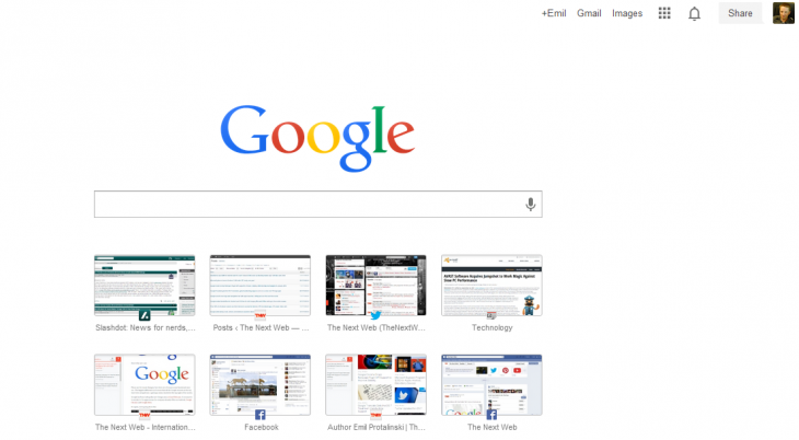 google new tab page 730x402 Google starts rolling out streamlined New Tab page for Chrome with a search bar front and center