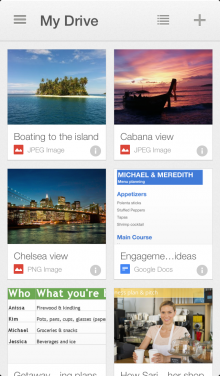 iphone5 1 220x376 Google Drive for iOS gets the new card style thumbnail layout, easier file sharing and automatic grouping