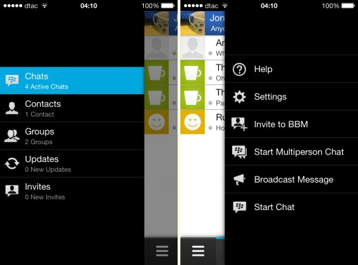 rhs lhs 520x386 Hands on with BlackBerrys BBM app for iOS