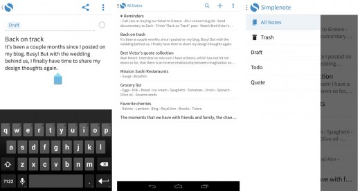 simplenote android 520x276 Productivity app Simplenote arrives on Android