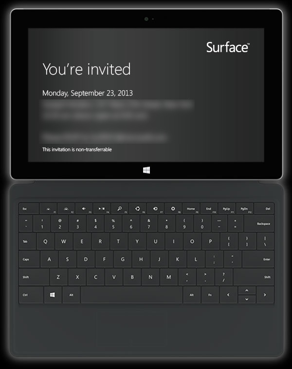 surface invite Microsoft Surface 2 launch event invites sent out for 23 September