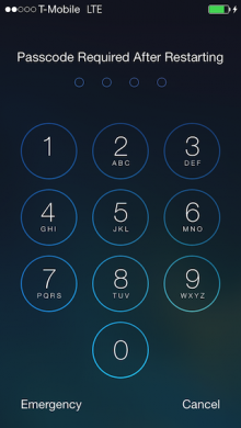 touchid passcode 220x390 Hands on with Apples Touch ID: Thumbs up for fingerprint sensors