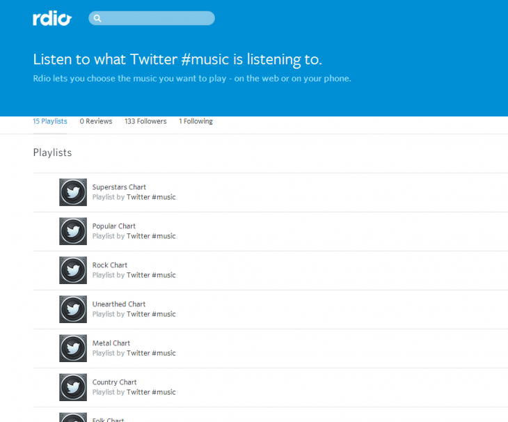twitter music rdio 730x606 Twitter #Music charts are now available inside Rdio