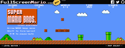Full Screen Mario 520x200 Get ready to waste your life: Super Mario Bros. is now playable on your Web browser