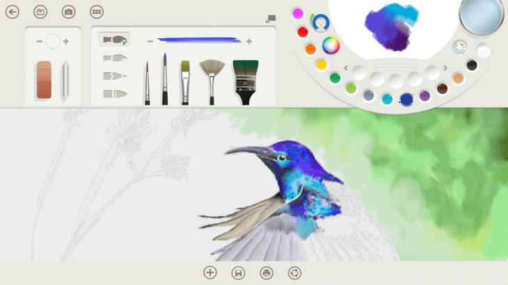 Image1 FreshPaint PaletteBlue hummingbird 22762201 730x410 Microsoft will launch its Fresh Paint app for free along with Windows 8.1 on October 18