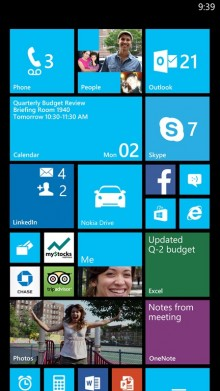 Phablet StartScreenProductivity 01 072A1240 220x391 Windows Phone 8 Update 3 adds support for 1080p displays, quad core processor and new Driving Mode