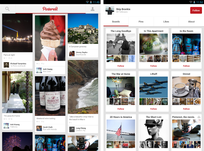 Pinterest1 30 of the most beautiful and well designed Android apps