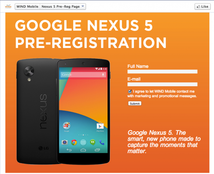 Screen Shot 2013 10 28 at 3.27.52 PM 730x593 Wind Mobile launches Nexus 5 pre registration page on Facebook, touts 8MP camera, 16GB/32GB capacity