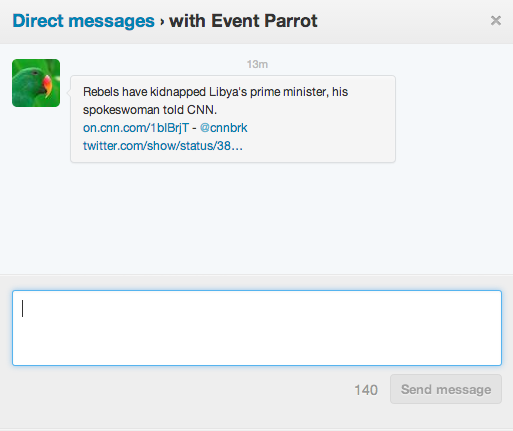 Screen shot 2013 10 10 at PM 01.49.29 Twitter is experimenting with delivering breaking news notifications via @eventparrot